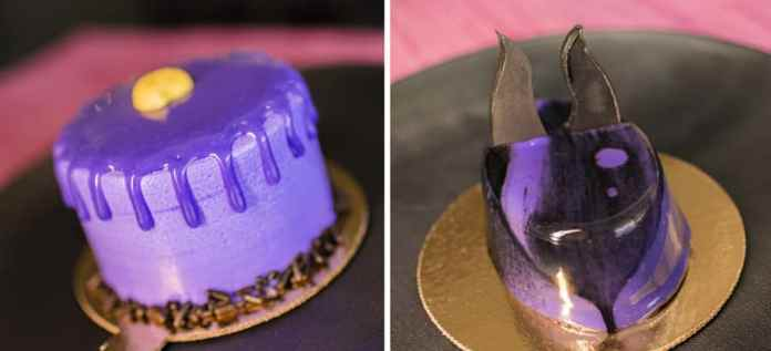 Villain Desserts from Contempo Café for Villaintines Day at Disney's Contemporary Resort - Ursula Confetti Cake and Maleficent Flourless Cake