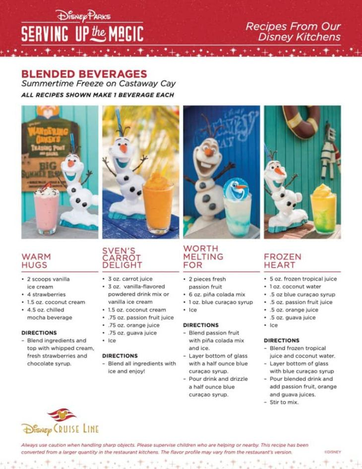 Serving up the Magic: Recipes from our Disney Kitchens - Blended Beverages from Summertime Freeze on Castaway Cay