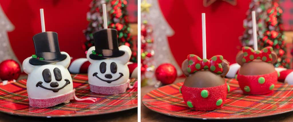 Mickey Snowman Apple and Minnie Holiday Apple from Marceline's Confectionery at the Disneyland Resort