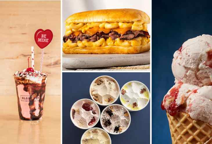 Beefy Mac & Cheesy Sandwich, Red Velvet Cake Batter Shake