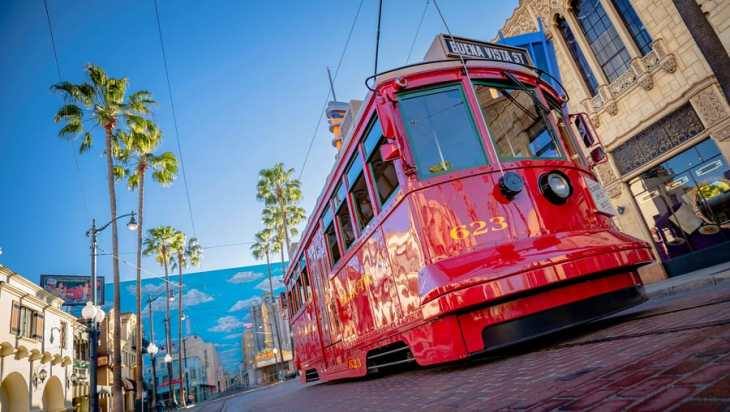 Red Car Trolley in Hollywood Land at Disney California Adventure park