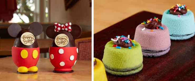 Mickey and Minnie Chocolate Easter Egg and Easter Carrot Cupcake available at The Market at Ale & Compass and The Beach Club Marketplace, Disney's Yacht & Beach Club Resort