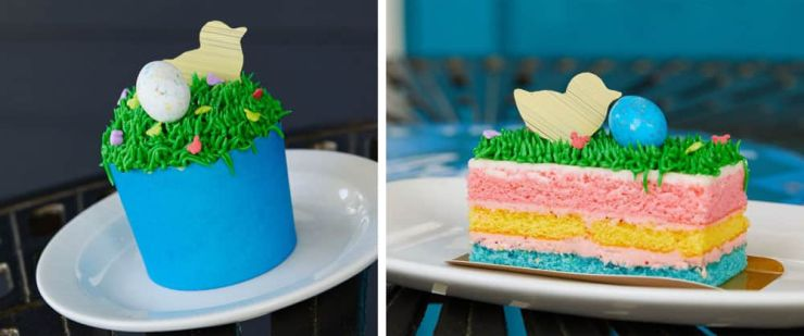 Easter Cake available at The Artist Palette, Disney's Saratoga Springs Resort and Easter Cupcake available at Good's to Go, Disney's Old Key West Resort