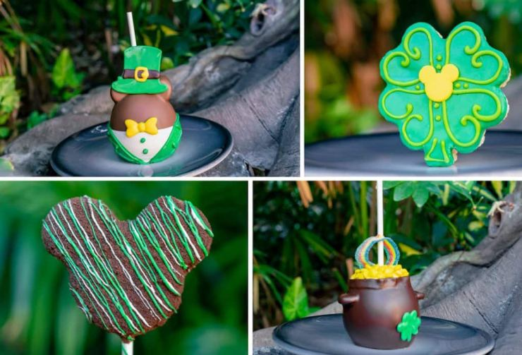 Collage of St. Patrick's Day treats from Marceline's Confectionery at Disneyland Resort