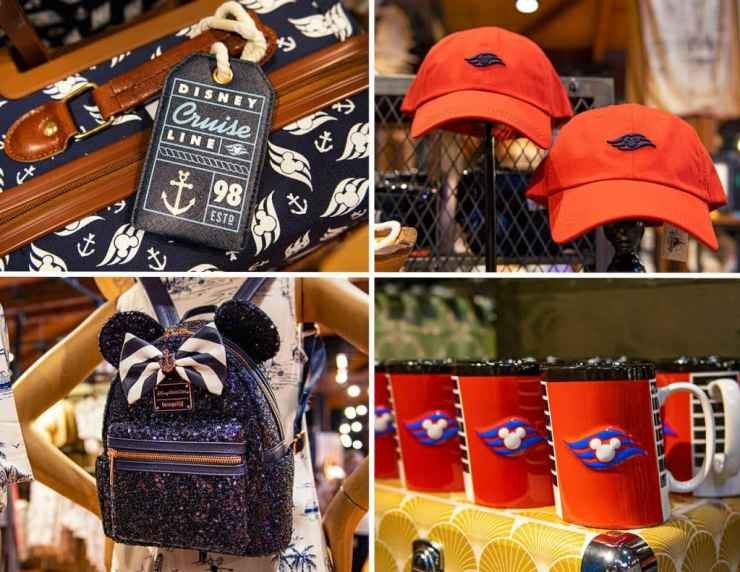Collage of Disney Cruise Line Merchandise now available at Disney Springs
