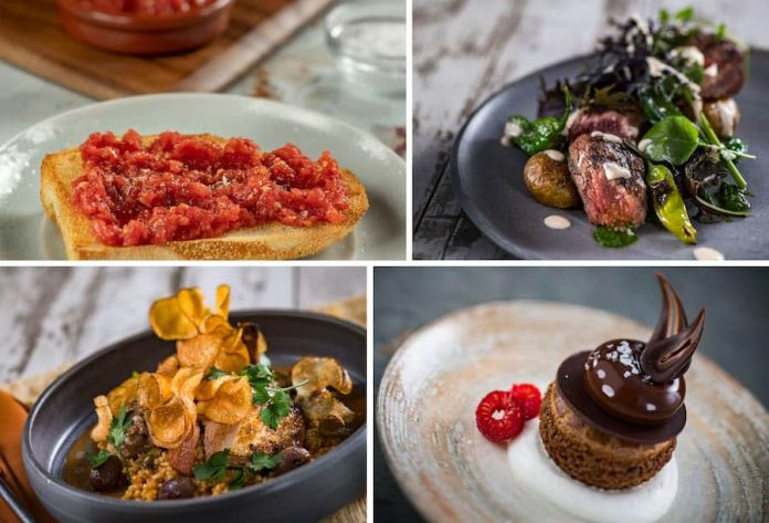 Collage of four items offered at  Toledo – Tapas, Steak & Seafood at Walt Disney World Resort