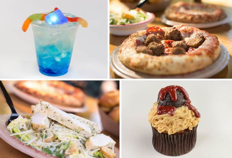 Collage of food items offered at Pizzafari at Disney's Animal Kingdom