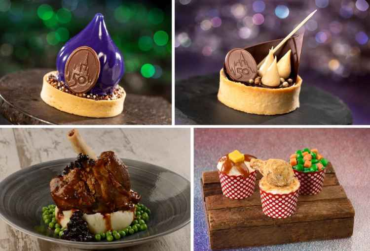 Chocolate Mousse with a cardamom financier, 50th Anniversary Peanut Butter-Banana Pie, Braised Lamb Shank, and Chicken Dinner Cupcake Trio