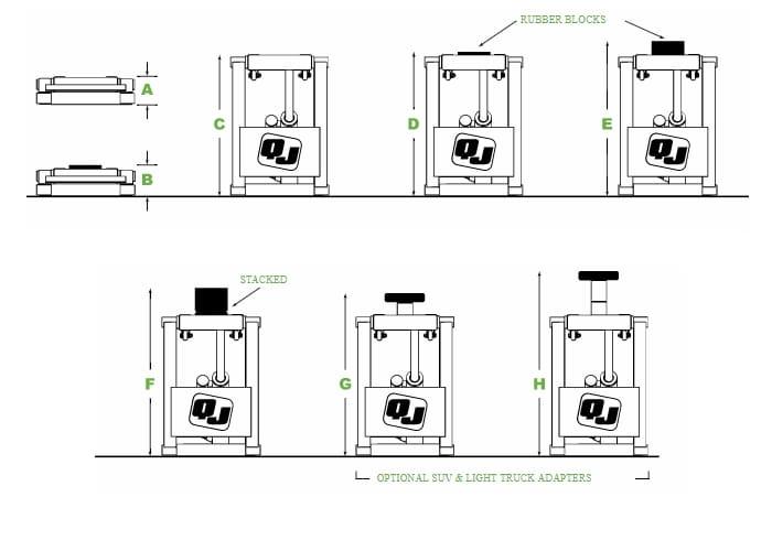 QuickJack Portable Vehicle Lifts Measurement Guide