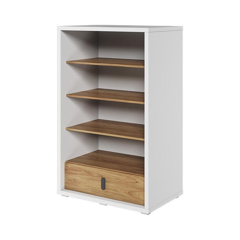 bibliotheque massi avec tiroir de rangement couleur blanc et chene hickory