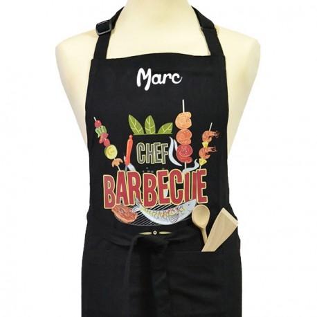 tablier de cuisine homme personnalise chef barbecue noir