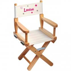 chaise metteur en scene enfant personnalisee star rose