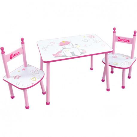 table et chaises enfant personnalisees licorne