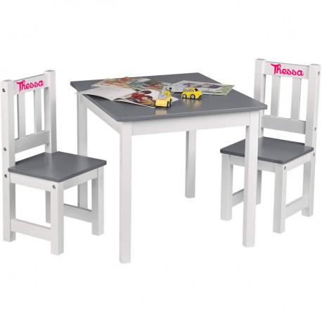 table et chaises enfant personnalisees blanc gris