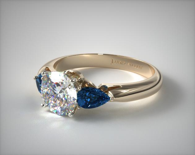 11153Y  Three Stone Pear Shaped Blue Sapphire Engagement Ring  18K Yellow Gold