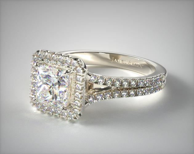 Split Shank Princess Shape Diamond Halo Engagement Ring