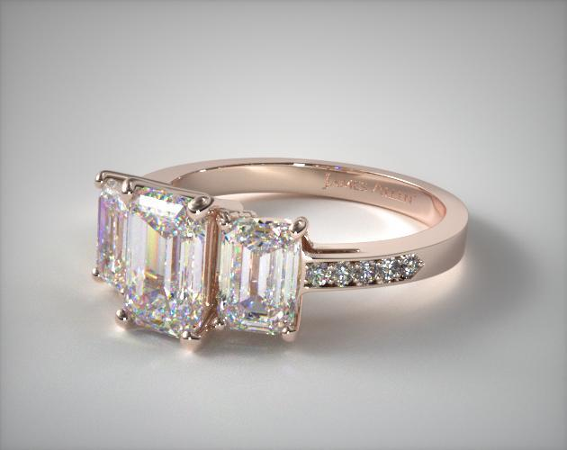 17134r14 Three Stone Emerald And Pave Set Diamond Engagement Ring 14k Rose Gold