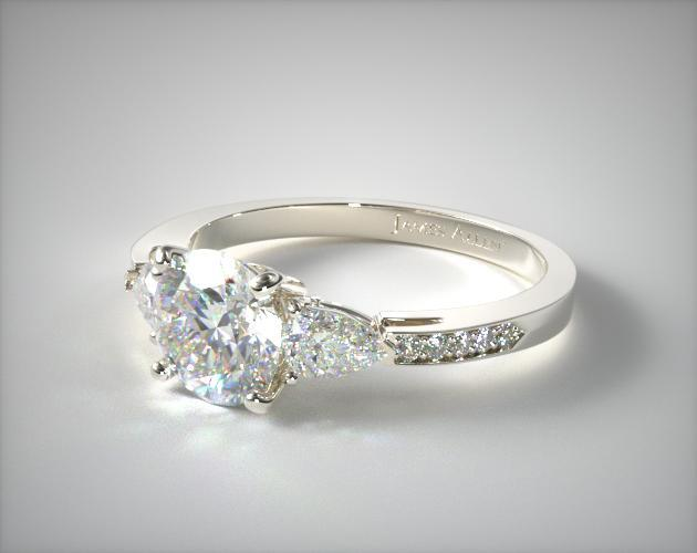 Three Stone Pear And Pave Set Diamond Engagement Ring