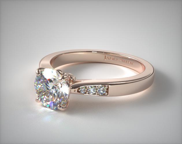 Petite Diamond Accent Engagement Ring 14K Rose Gold