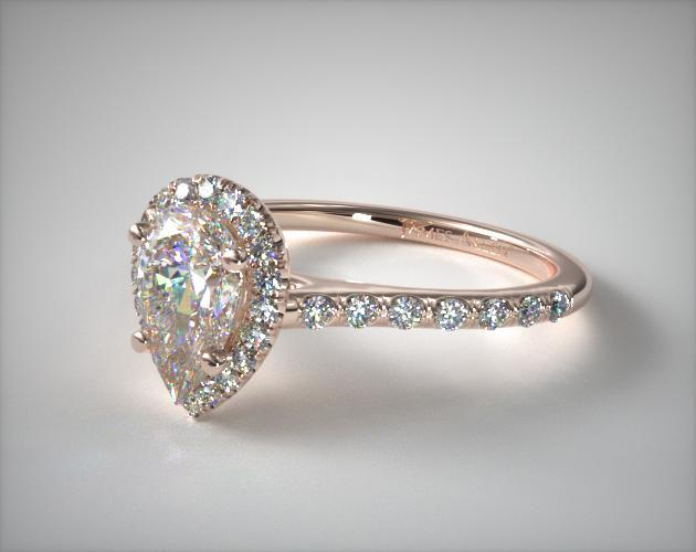 17306R14 Pave Halo And Shank Diamond Engagement Ring