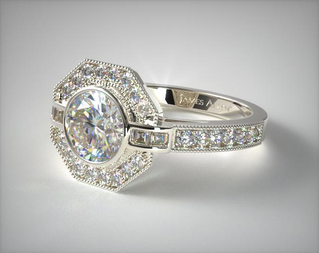 Engagement Rings Vintage 14k White Gold Art Deco