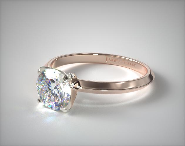 2mm Knife Edge Solitaire Engagement Ring 14K Rose Gold