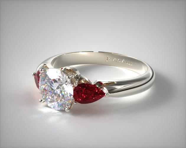 Three Stone Pear Shaped Ruby Engagement Ring  18K White Gold  11157W