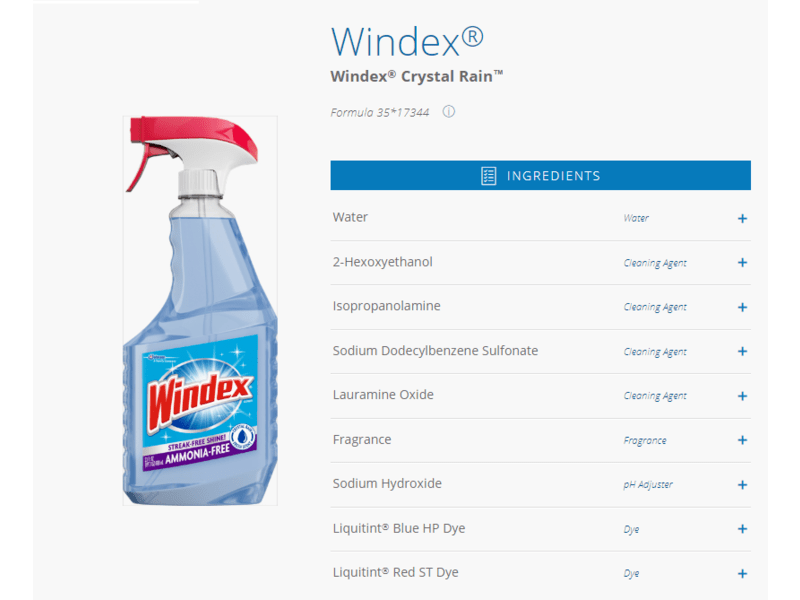Windex Crystal Rain Glass Cleaner 26 fl oz Ingredients