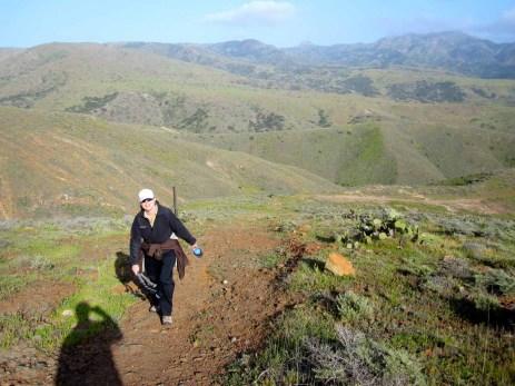 Climbing up the ridgeline trail