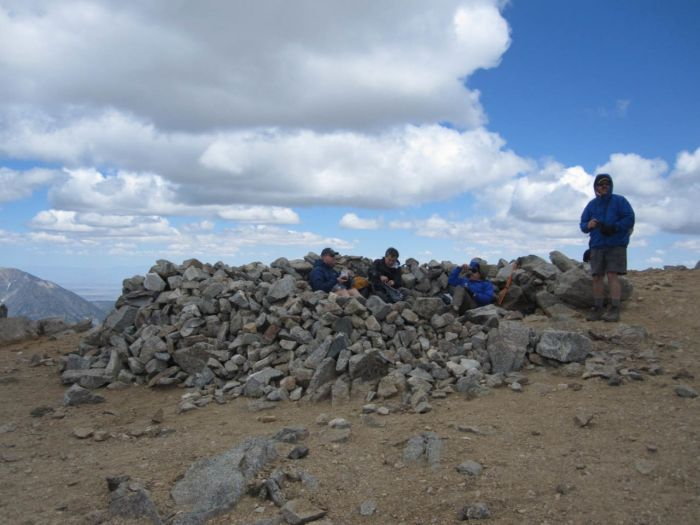 This make-shift rock wall atop Mt San Antonio protects against the oft-fierce winds