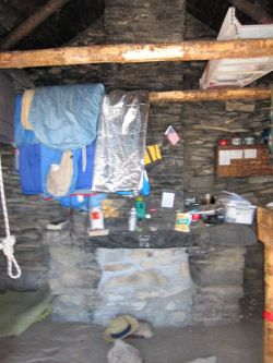 Emergency supplies in the hut