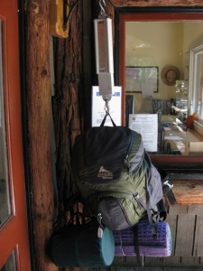 Weighing our packs at the Ranger Station