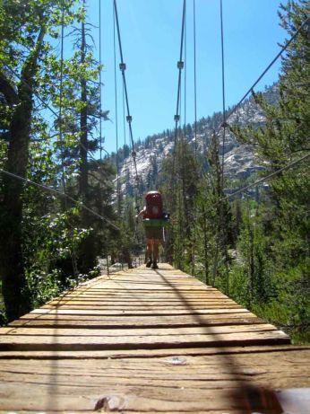 Woods Creek Suspension Bridge on the JMT
