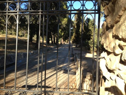 At the gates to the Cobb Estate.