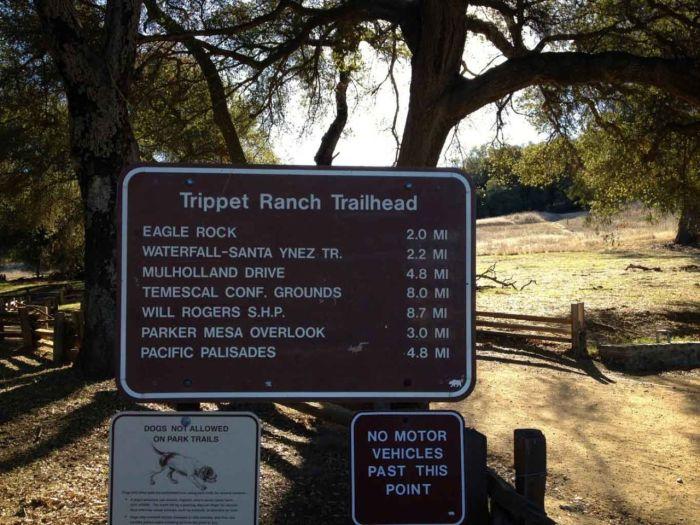 Trippet Ranch Trailhead Sign