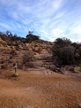 The trail becomes rock