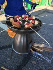BioLite grill making breakfast kabobs