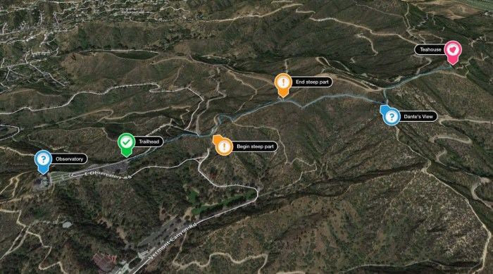 Google Earth overview of the shortest hike to the Griffith Park Teahouse
