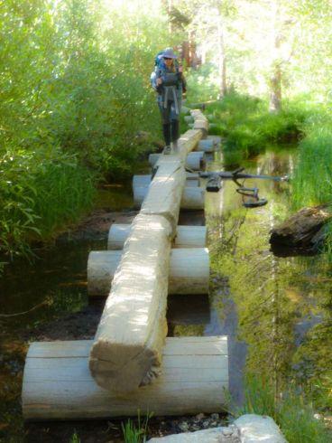 Whitney Portal log crossing