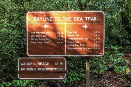Skyline to the Sea Trailhead sign