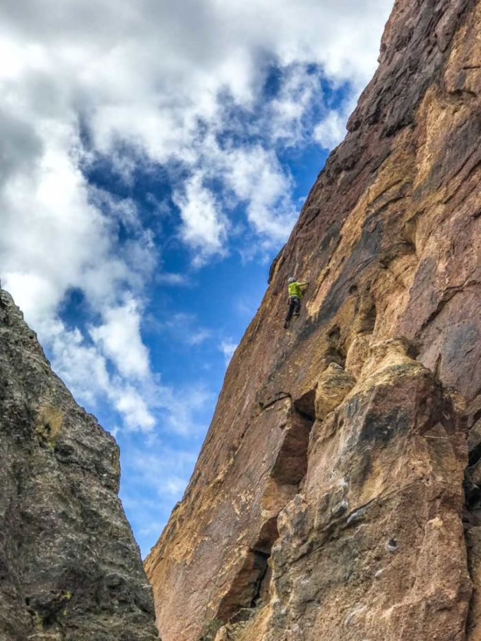 Rock climber on the Red Wall