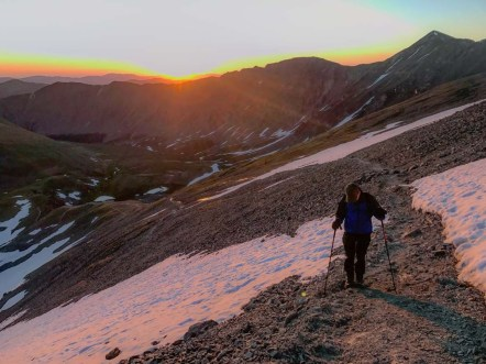 Starting early up Grays Peak pays dividends with the sunrise