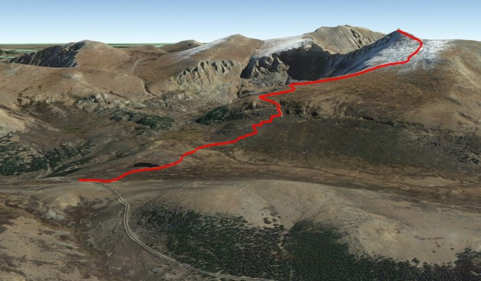 Overview of the hike up Mt Bierstadt