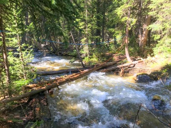 Improvised creek crossing
