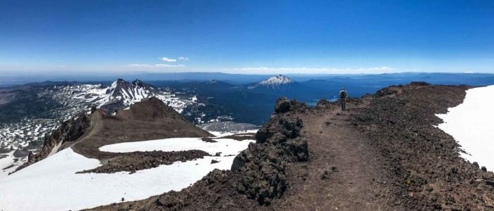 Views of Broken Top and Mount Bachelor from South Sister's crater rim
