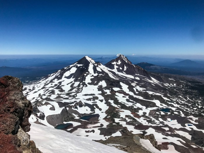 Middle and North Sister from the summit of South Sister