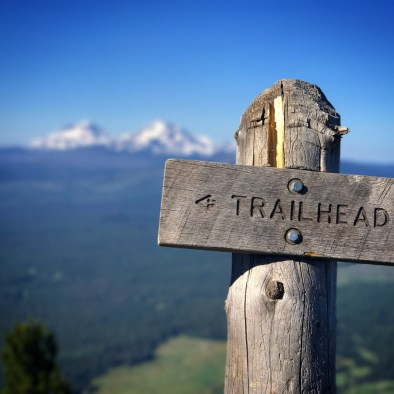 Trailhead sign at the top of Black Butte