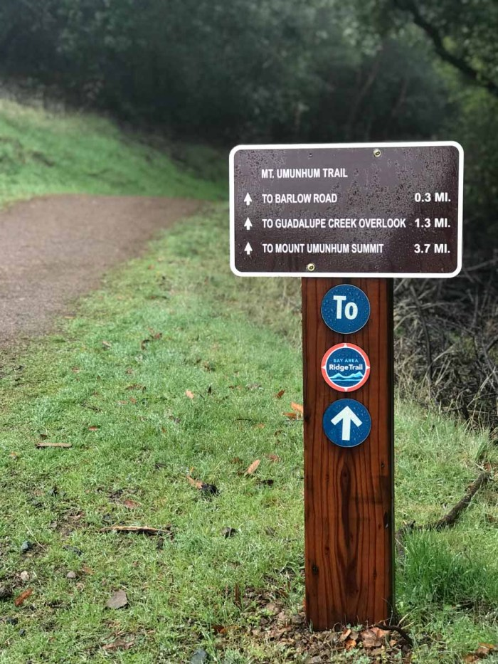 The Mt Umunhum Trail sign