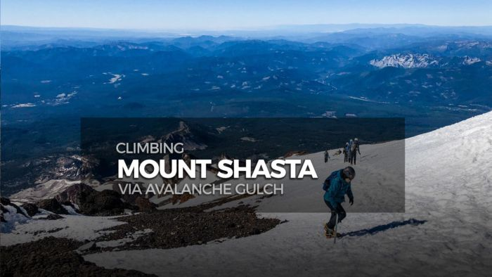 Overview of the Avalanche Gulch route up Mount Shasta