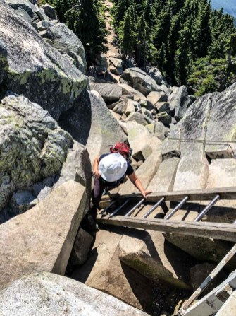 Climbing up the Mt Pilchuck Lookout Tower